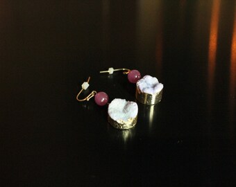 Purple Druzy and gold earrings