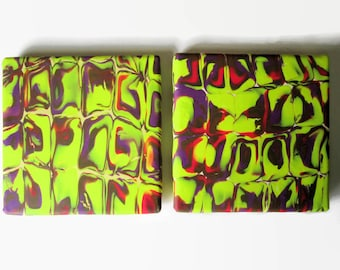 Tile Coaster, Small Tile Trivet, Chartreuse Background with Red, Charcoal and Purple Abstract Design