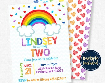 Rainbow Party Invitation, Rainbow Birthday Invitation, Confetti Invitation, Girl Birthday
