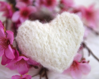 Knit heart, fuzzy mohair newborn baby girl boy photography prop - choose a color