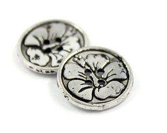 Metal Buttons - Bauhinia Flower Engraving Silver Black Metal Hole Buttons - 15mm - 5/8 inch - 6 pcs