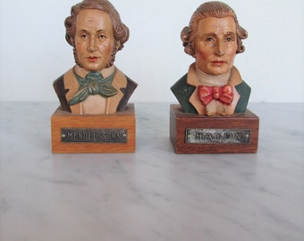 pair 60's Anri Artisan classical music composer hand-carved bust of Mendelssohn and Haydn