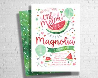 Watermelon Birthday Invitation, Our Little Sweetie, Watercolor Birthday Invitation- Digital File Only