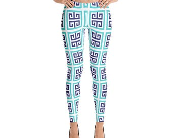 Leggings, Blue Aqua Pattern Leggings, Yoga Pants, Capri Leggings, Ankle Length Leggings, Women Sizes, X-Small, Small, Medium, Large, XLarge