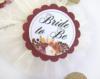 Bridal Shower Corsage, Custom Name Title, Bride to Be Floral Bride Badge, Wine Burgundy Floral Party Pins, Bride Pin, Wedding Party Badge
