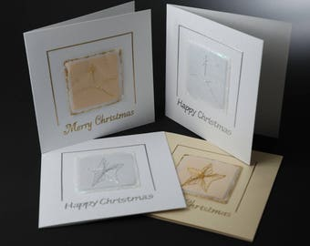 Pack of 4 cards, selection of cards, Christmas cards, hand stitched cards, special cards, gold and silver cards, traditional christmas