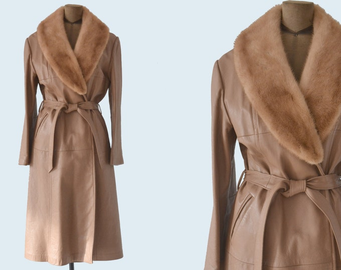 1970s Fur Collar Tan Leather Trench size S/M