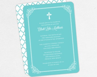 Boy Baptism Invitation, Christening Invitation, Printable Baptism Invitation, Invitation PDF, DIY Invitation, Classic, Modern, Blue, Elliott