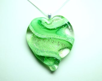 Lampworked Ribbon Stardust Art Glass Heart Pendant, Green with Gold and Silver Stardust