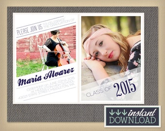 Senior Graduation Announcement Templates for Photographers - Diagonal Theme Photography Template - PSD 5x7 card