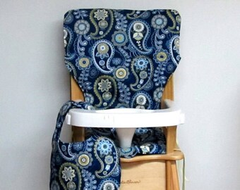 wood chair pad, cotton high chair cover, kids feeding chair, baby furniture accessory, replacement cover, large paisley with matching bib