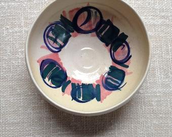 Vintage Katrin Chittams handpainted pottery bowl / Australian pottery