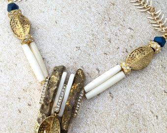 Handmade Tribal Necklace, Bone, Rhinestone, Festival, Boho, Goddess, Princess, Pharaoh, Egyptian, Sexy, (Lost in the Temple Necklace)