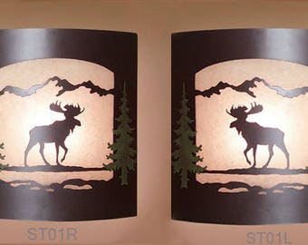 Pair of 2 Wall Sconce Rustic Moose Lights, Cabin Decor Lamp, Hand Painted Left & Right Facing