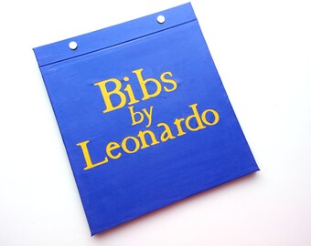 Race Bib Holder - Personalized Race Bibs by Your Name - Personalized with name -  Hand-bound Book for Runners - Blue and Yellow