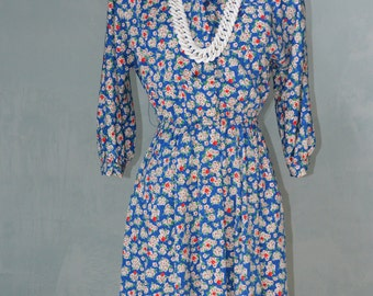 Boho 70s Lesley Fay Floral Royal Blue Dress