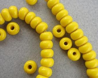 Yellow Padre Beads, Yellow Filler Bead, Ghana Glass Bead, Spacer Bead (9x6mm) [66062]