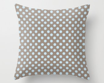 Outdoor Pillow Cover with Pillow Insert, Outdoor Pillow, Powder Blue Polka Dots