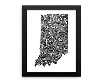 Indiana typography map art FRAMED print custom personalized state poster personalized wall decor engagement wedding housewarming gift