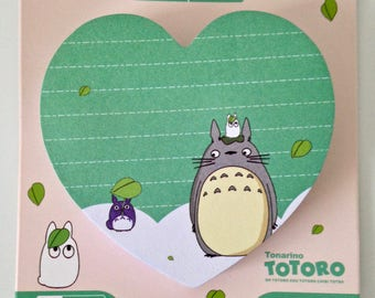 Totoro cute kawaii kitsch post it sticky notes heart shaped pad