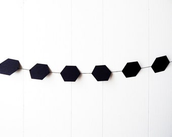 Black Hexagon Garland Bunting / Geometric wall hanging / Photo Prop / Baby Shower / Halloween Decor