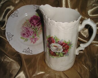 Vintage Stunning Shabby Chic Roses Pitcher&Plate Summer Country Cottage Decor/Table Ware Country Lot.