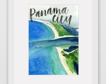 Around the World Watercolor Prints - Panama City