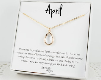 April Birthstone Gold Teardrop Necklace, Crystal Gold Necklace, April Birthday Jewelry, Personalized Gold Necklace, Gifts Under 20