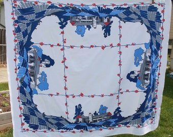 Vintage Startex Starmont Cotton Tablecloth, MCM Mid-Century, Red White and Blue, Ranch House, 53 x 48