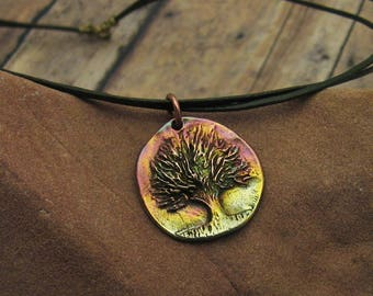 Bronze Tree and Leather Necklace, Rustic Jewelry, Bronze Jewelry, Leather Jewelry, Colorful Tree Necklace, Tree Lover, Tree Talisman Gift