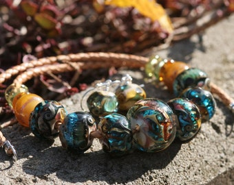 Jewelry Sets, Necklace + Earrings Lampwork and silver Organic, Glass Leather Necklace, Leather Cord, turquoise, green, Lampwork Necklace