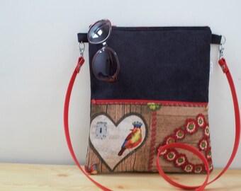 Canvas Tote Bag,tote bag,fabric tote,crossbody bag,zippered bag,black bag,bird bag,boho bag,denim tote bag,printed bag,black tote,bag