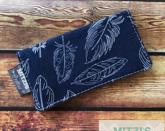 SHIPS TODAY\\\ Checkbook Cover in Navy Feathers