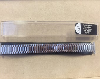 16mm to 20mm Stainless Steel Straight Spring End-Expansion Stretch Replacement Watch Band