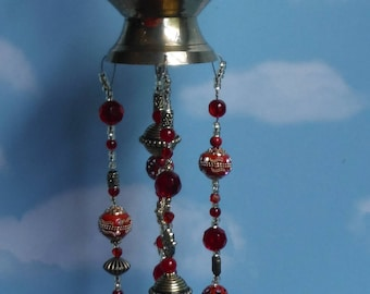 Vintage Turkish Gold and Red Tea Pot with Elegant Beading, Silver Plated Spoon Chimes