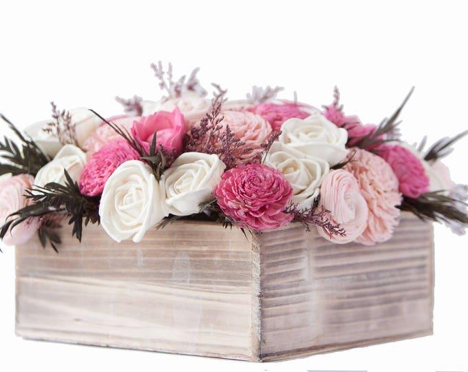 Large Pink and White Valentine's Day Arrangement - Valentines Flowers - Valenines Bouquet - Pink Centerpiece - Sola Flower Arrangement