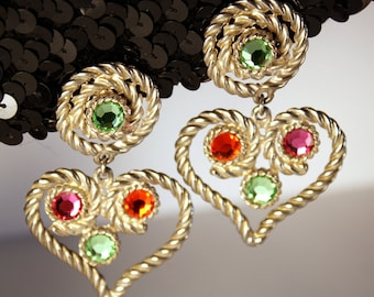 Jeweled Heart Earrings, Signed, Élee, Clips, Dangles, Rhinestones, Crystals, Peridot, Green, Pink, Orange, Rope, Silver