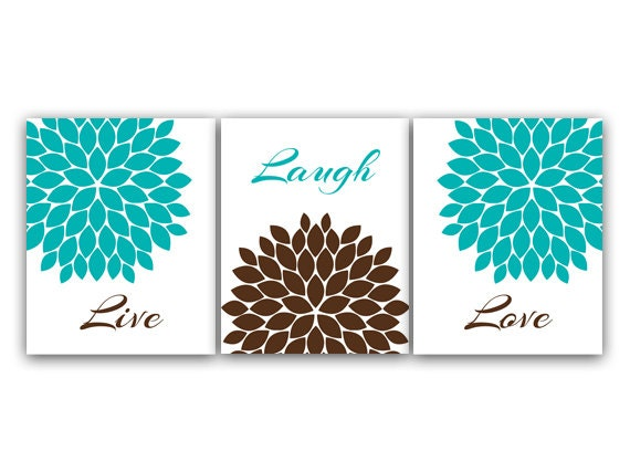Superb Home Decor CANVAS Or PRINTS, Live Laugh Love, Turquoise Wall Art, Flower  Burst Bathroom Wall Decor, Aqua And Brown Bedroom Wall Art   HOME18