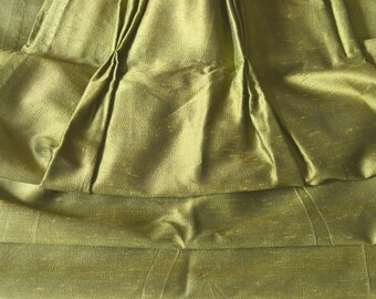 """Vintage Curtains, Green Mad Men, Two Pairs Available, Silk? 24""""w. at pinch pleat top x 41""""w. at bottom x 62.5"""" l."""