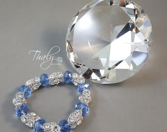 Fancy Silver and Light Blue Crystal Bracelet