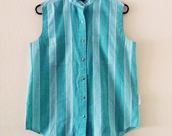 80's Sleeveless Button Up