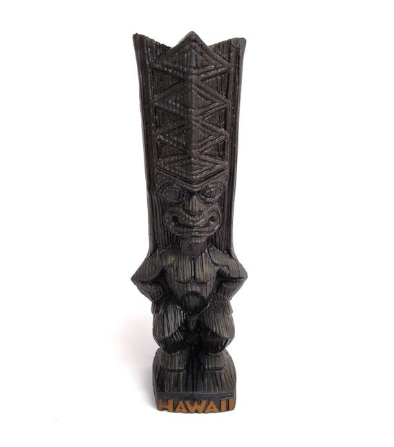 Vintage Poly-Art Carved Lava Rock Lono Tiki Figurine from Hawaii