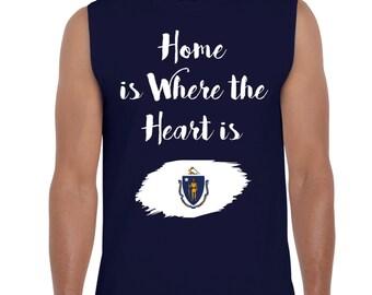 Home is Where the heart is Massachusetts Mens Sleeveless Massachusetts T-Shirt