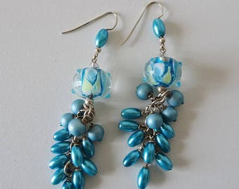Turquoise Blue Beaded Earrings, Lamp Work Glass Bead Earrings, Dangle Bead Earrings, Cluster Bead Earrings