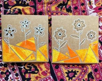 Yellow Collage Flowers - Set of 2 Cards - Original Artwork