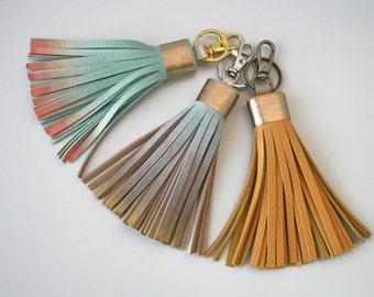 Leather Tassel Key Chain, Ombre Tassel Fringe, Leather Key Fob, Bag Purse Charm Car key accessory