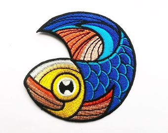 Blue Japanese Koi Carp Carpfish patch.