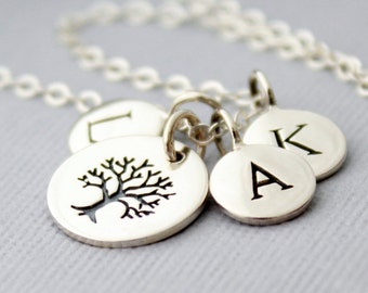 Sterling Silver Family Tree Necklace, Personalized Family Initial Necklace, Mothers Day Gift, Personalized Jewelry, Tree of Life Necklace