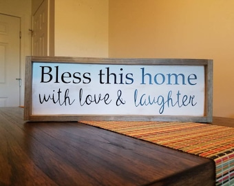 Bless This Home Sign With Frame