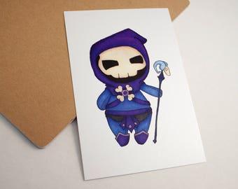 Mini Skeletor - 4x6 Print [ Masters of the Universe  / Fan Art / Chibi ]